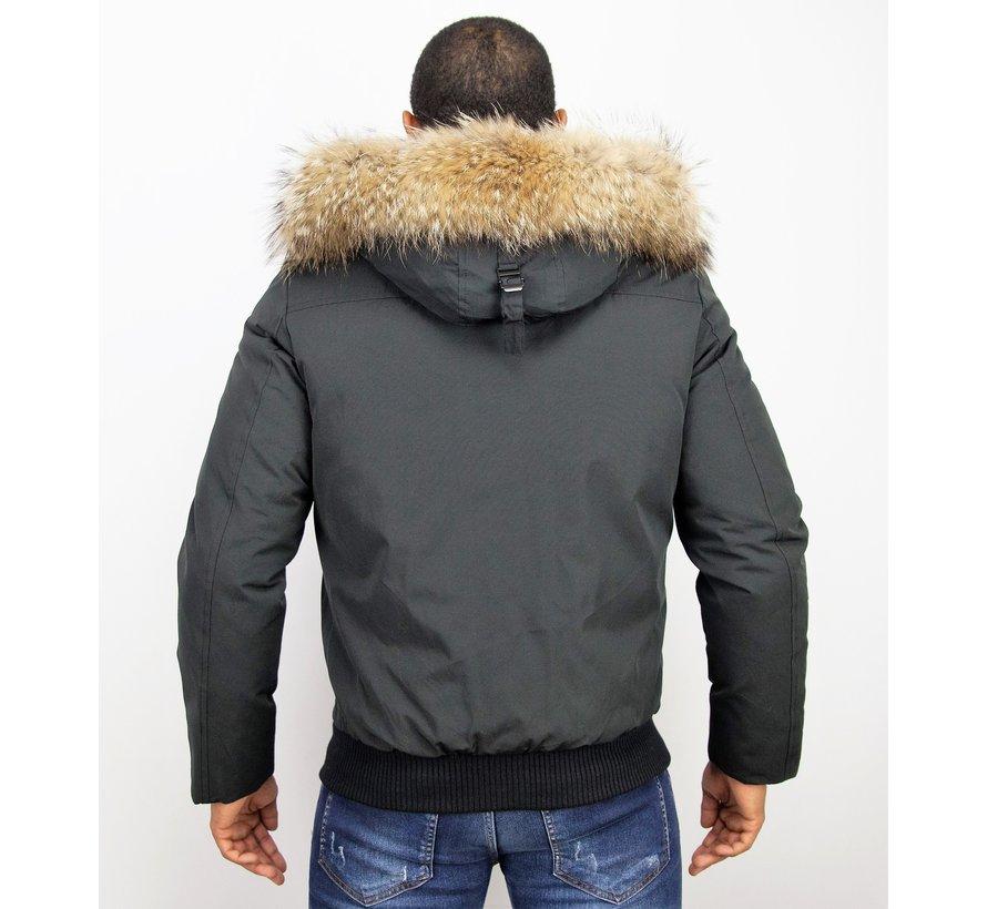 Heren Winterjas Kort - ACTIE - Echte Grote  Bontkraag XL - Zwart