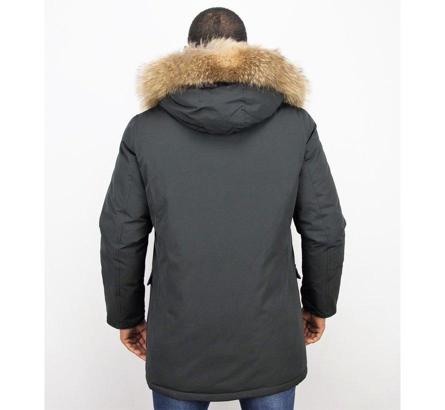 Heren Winterjas  - ACTIE - Echte Grote  Bontkraag XL  - Zwart