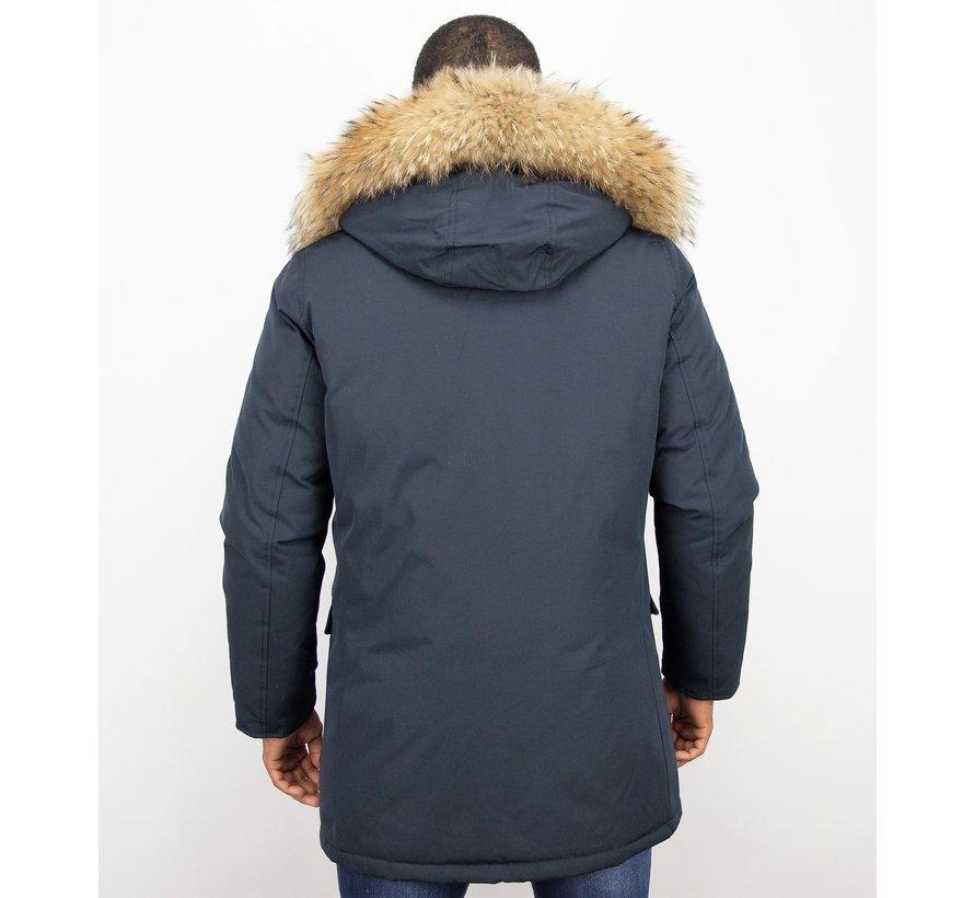 Heren Winterjas  - ACTIE - Echte Grote  Bontkraag XL  - Blauw