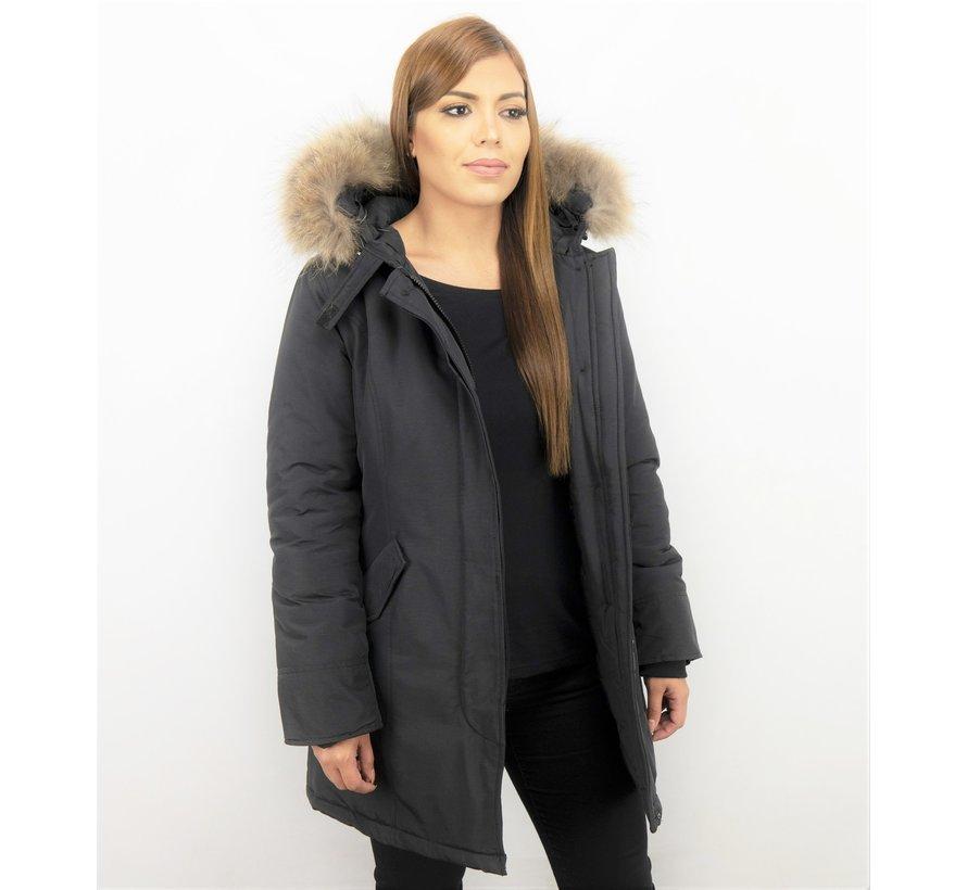 Dames  Winterjas  - ACTIE - Echte Grote  Bontkraag XL  - Zwart