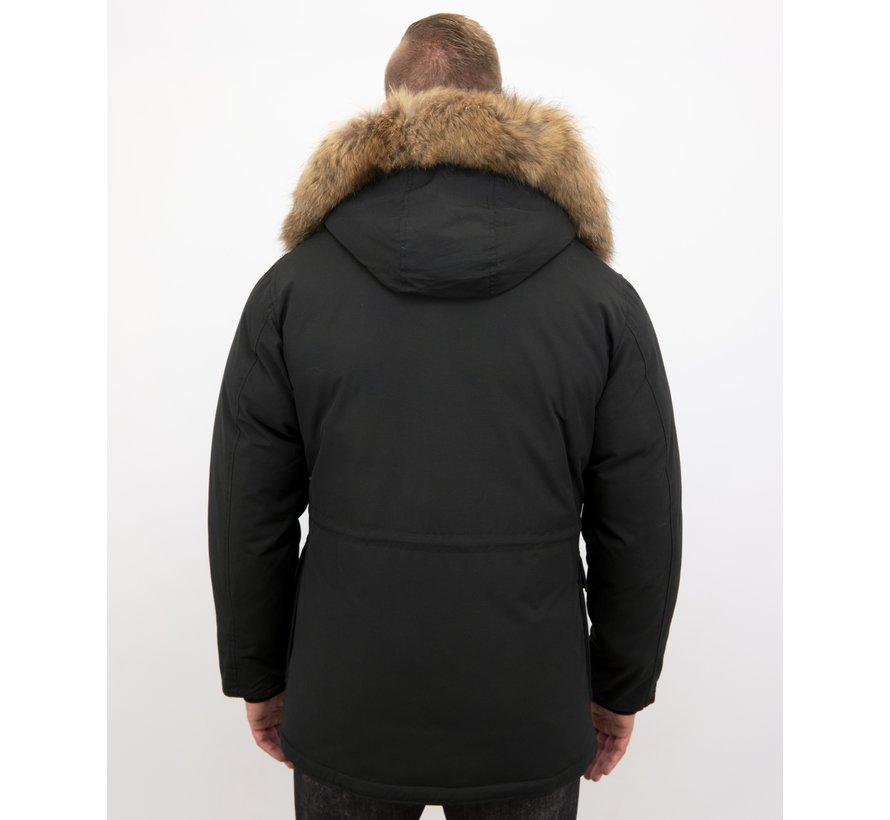Gewatteerde Winterjas Heren - Met Grote Bontkraag – Zwart