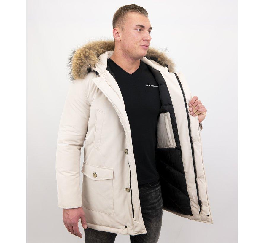 Lange Heren Winterjas met Grote Echte Bontkraag – Beige