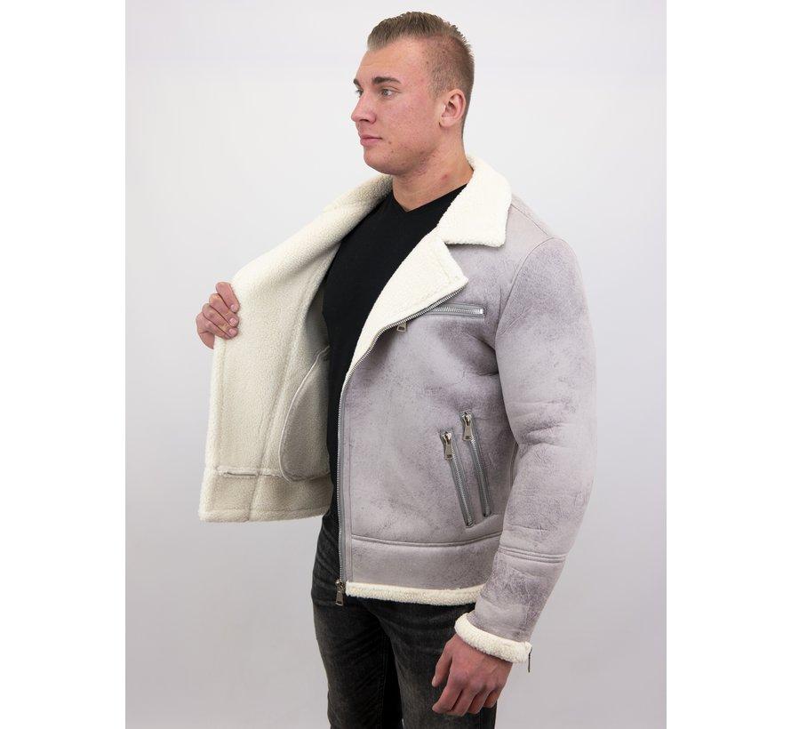 Imitatie Lammy Coat Heren Winterjas Kort - Grijs