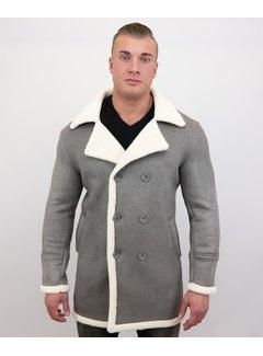 Frilivin Lammy Coat jas heren Parka - Bontjas Lang - Grijs