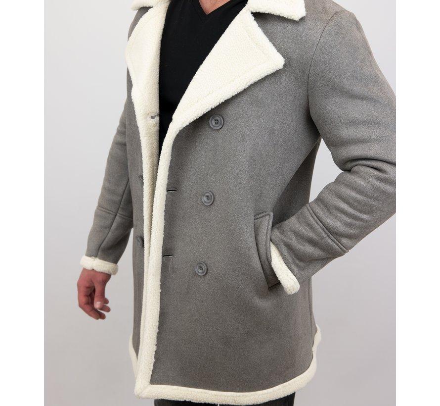 Lammy Coat jas heren Parka - Bontjas Lang - Grijs