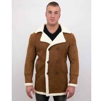 Frilivin Lammy Coat Heren Lang - Bontjas Parka - Bruin