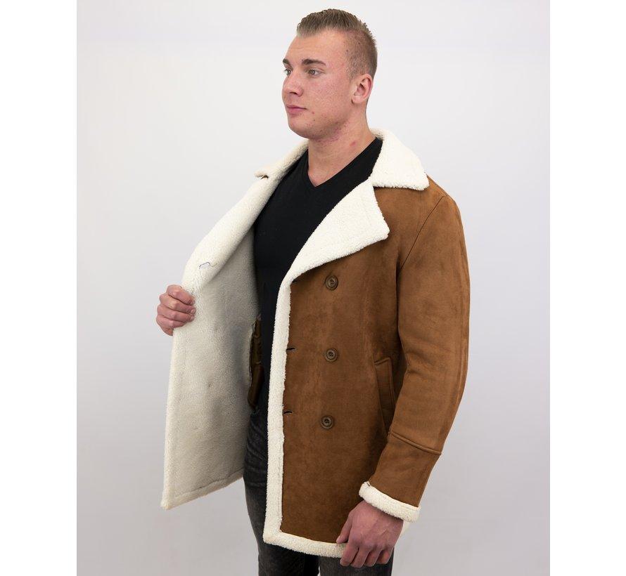 Lammy Coat Heren Lang - Bontjas Parka - Bruin