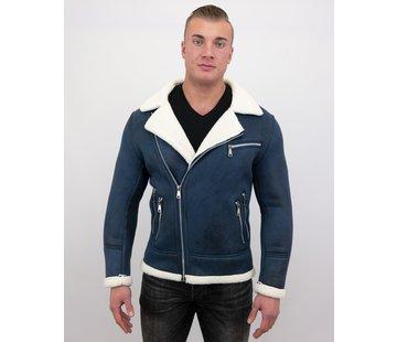 Frilivin Heren Winterjas Imitatie Lammy Coat Kort - Blauw