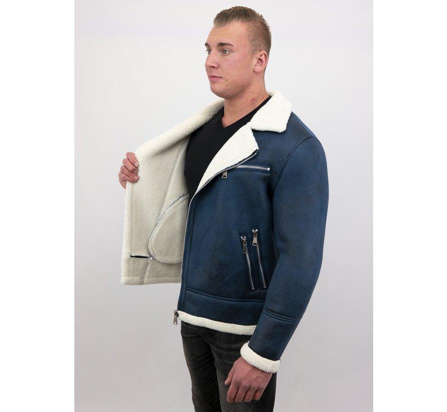 Heren Winterjas Imitatie Lammy Coat Kort - Blauw