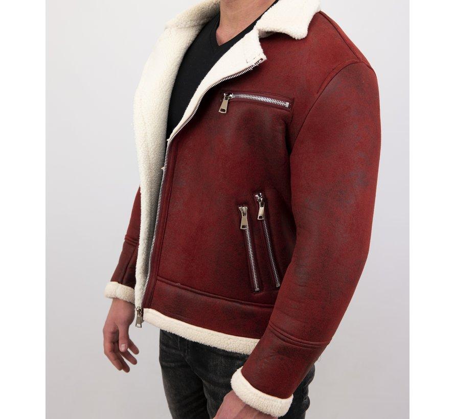 Imitatie Lammy Coat Heren Winterjas Kort - Rood