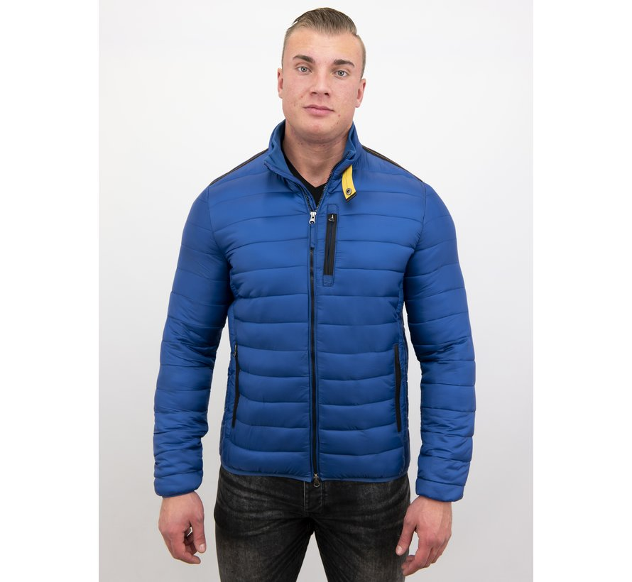 Heren Korte Slim Fit Jas - Blauw