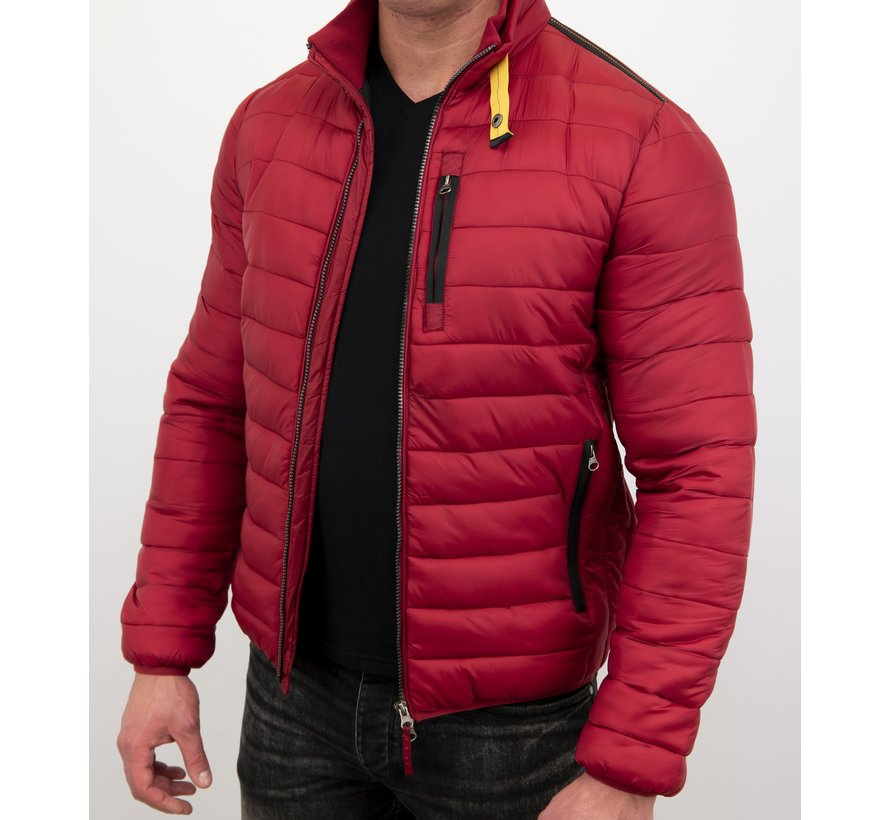 Slim Fit Heren Korte Jas - Rood