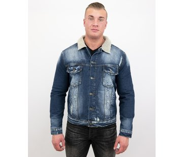 Wareen W Warme Trucker Heren Jack - Denim Spijkerjas Slim Fit - Blauw