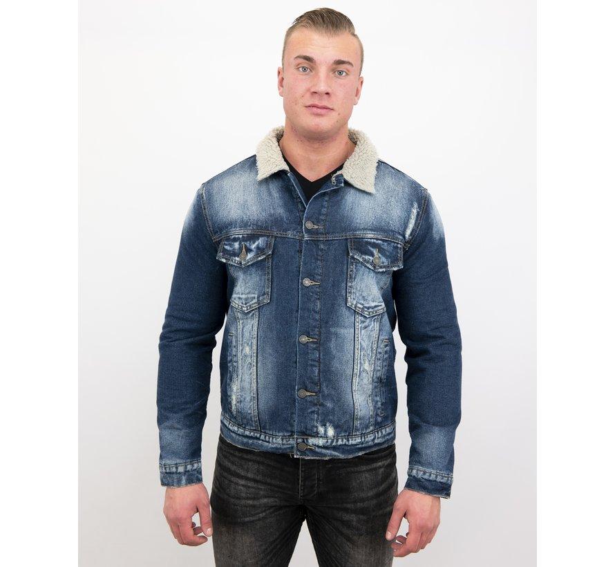 Warme Trucker Heren Jack - Denim Spijkerjas Slim Fit - Blauw