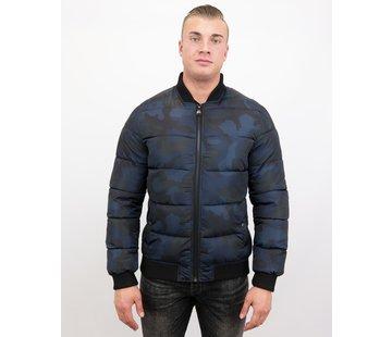 Daniele Volpe Camouflage Bomber Jacket - Heren Winterjas Kort - Blauw