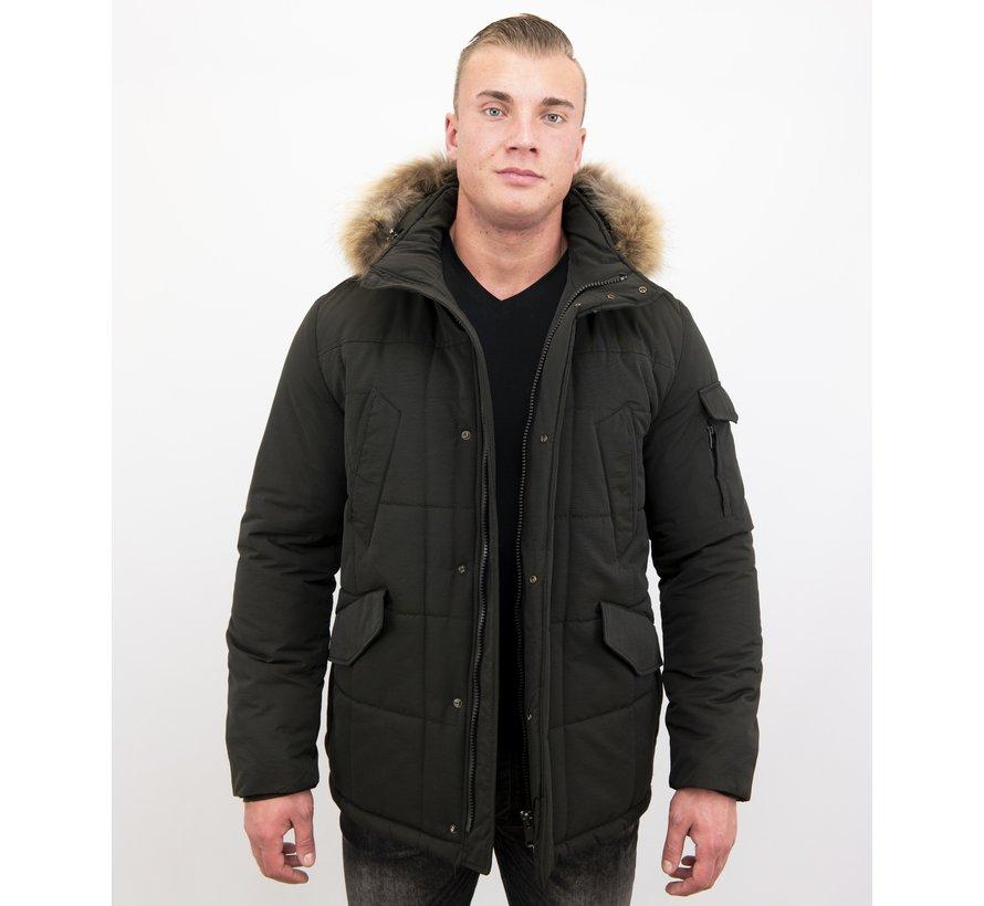 Lange Winterjas Heren - met Kleine Bontkraag - Zwart/Bruin