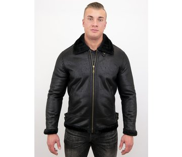 Tony Backer Shearling jacket - Nep Leer - Zwart
