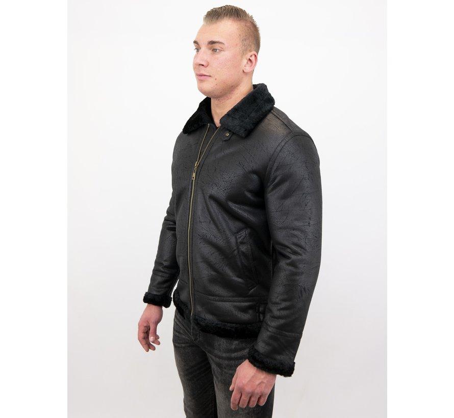 Shearling jacket - Nep Leer - Zwart