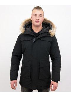 Enos Winterjas Heren  -  Grote Echte Bontkraag – Zwart
