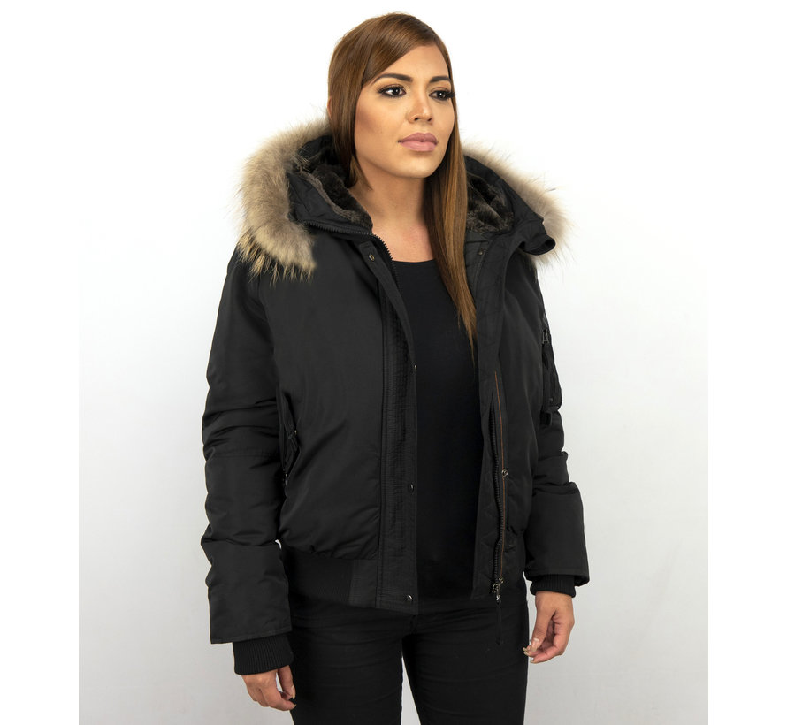 Winterjas Korte Dames - Met Grote Bontkraag - Zwart
