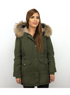 Macleria Dames Winterjas Lang - Slim Fit Parka -Met XL Bontkraag - Groen