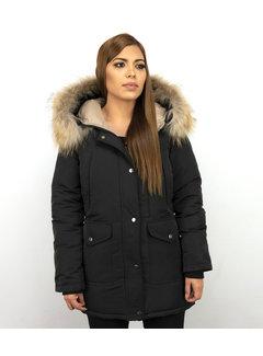 Macleria Dames Winterjas Lang - Parka Slim Fit  -Met XL Bontkraag - Zwart
