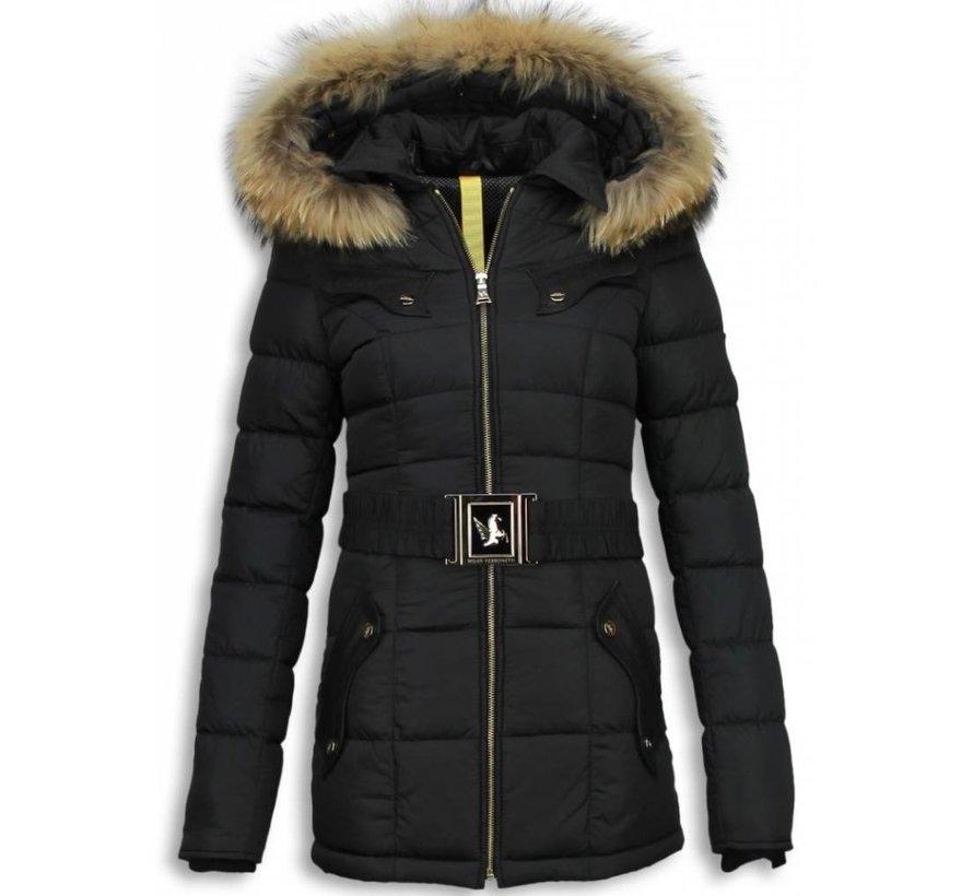 Dames Winterjas Halflang - Black On Black Edition - Zwart