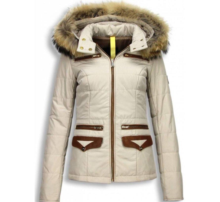 Dames Winterjas Kort- EXtra Pocket Edition - Beige