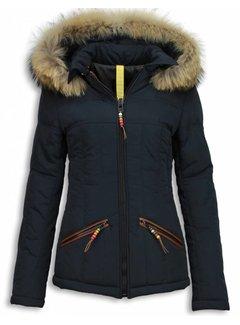 Milan Ferronetti Dames Winterjas Kort -Met Capuchon  Beads Edition - Blauw