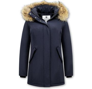 Matogla Winterjas Dames  met Echte Bontkraag - Slim Fit - Blauw