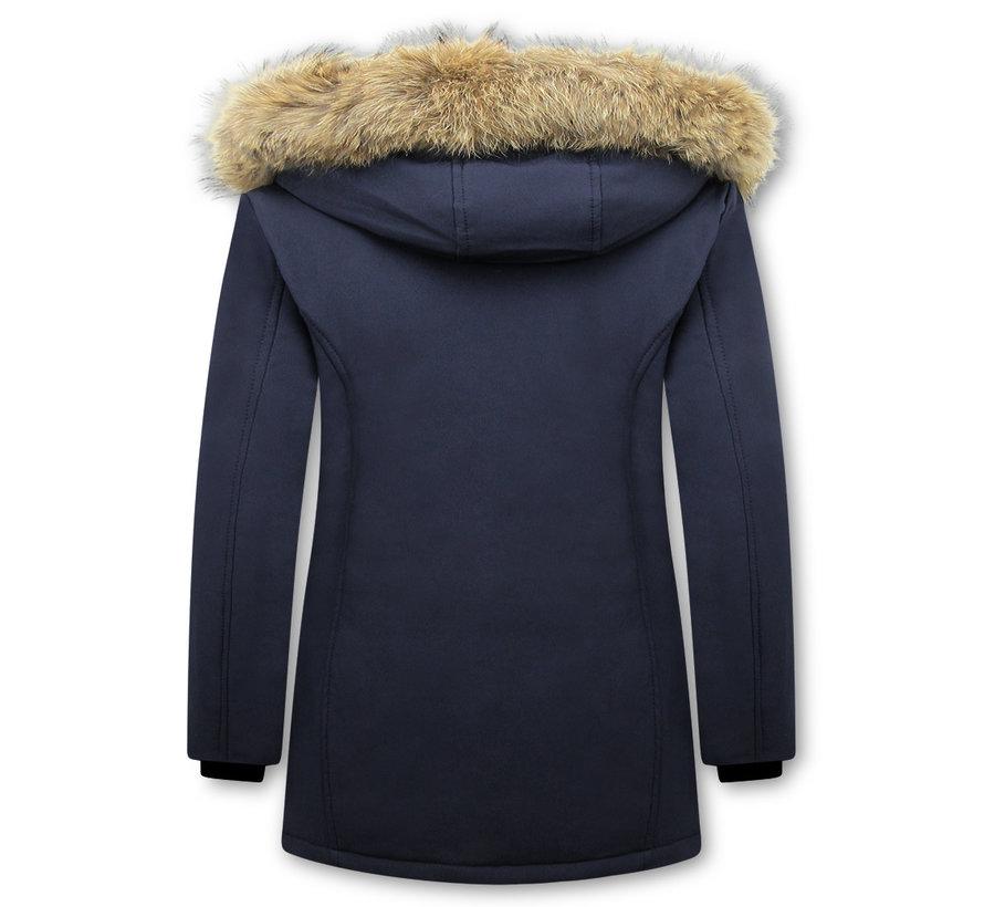 Winterjas Dames  met Echte Bontkraag - Slim Fit - Blauw