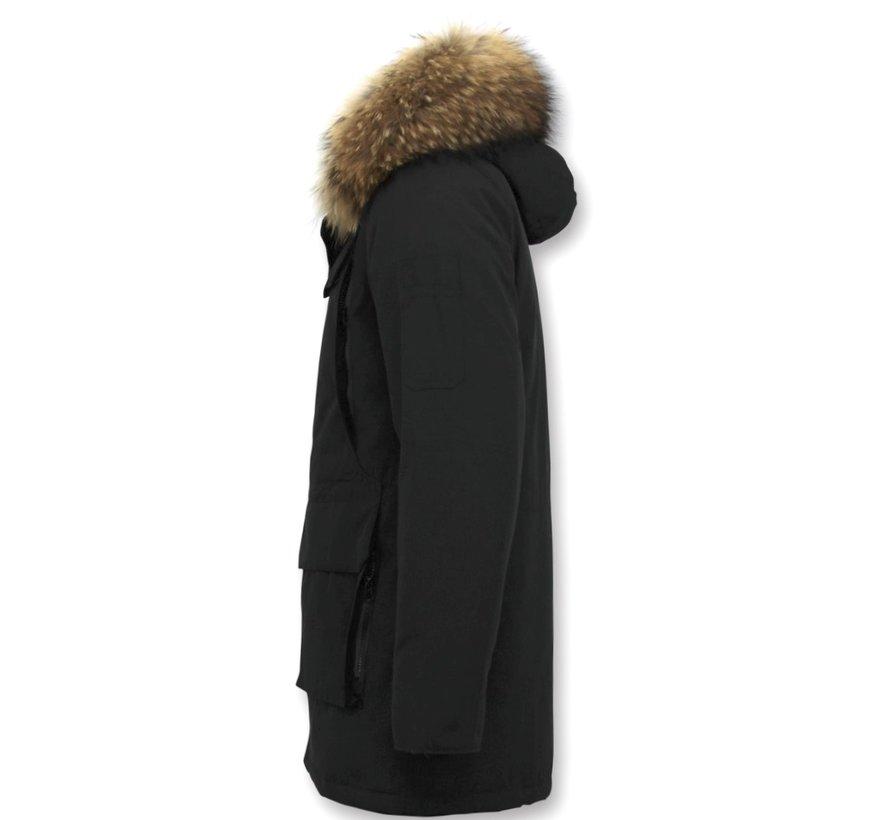 Winterjas Heren  -  Grote Echte Bontkraag – Zwart