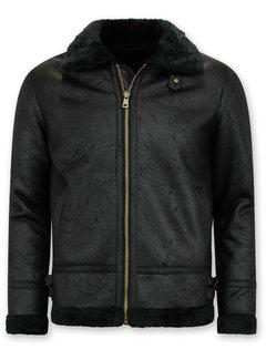 Tony Backer Shearling jacket - Nep Leer - Zwart