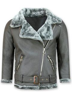 Z-design Lammy Coat Dames Kort – Grijs
