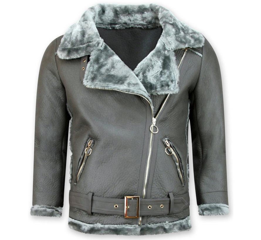 Lammy Coat Dames Kort – Grijs