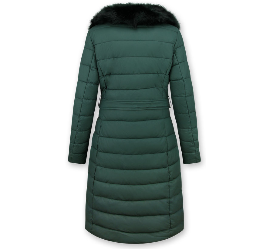 Lange Dames Winterjas – Met Zwarte Nep Bontkraag – Groen