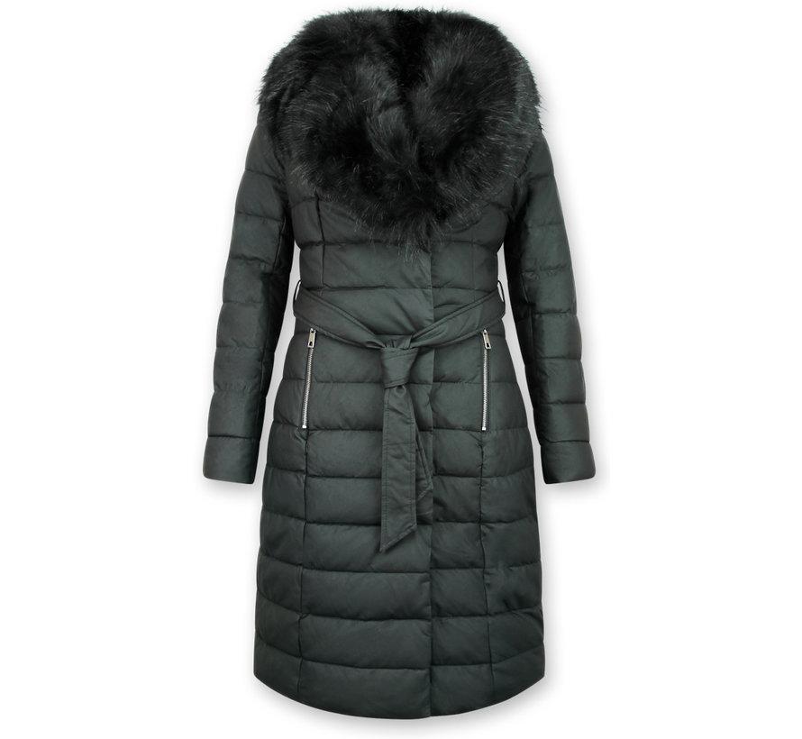 Extra Lange Winterjas Dames – Met Zwarte Nep Bontkraag – Zwart