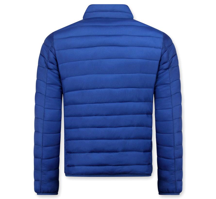 Heren Korte Slim Fit Jas - Blauw