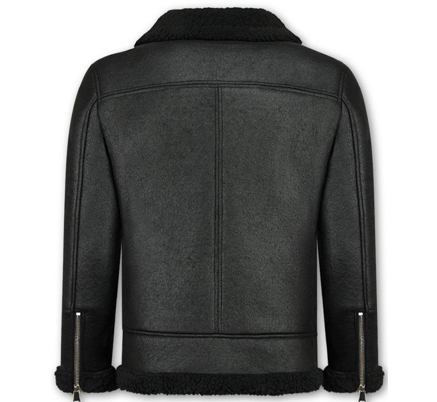 Imitatie Lammy Coat Heren Winterjas - Zwart