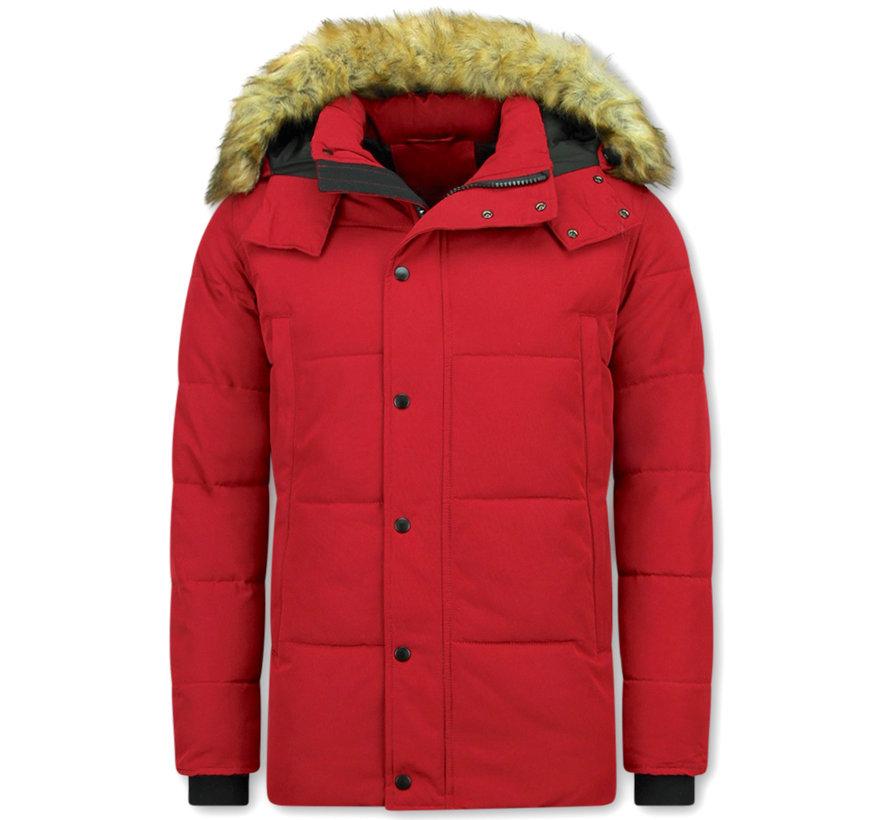 Rode Heren Winterjas met Bontkraag