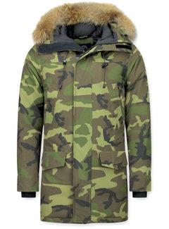 Y chromosome Heren Winterjas Lang - Camouflage Parka - Groen