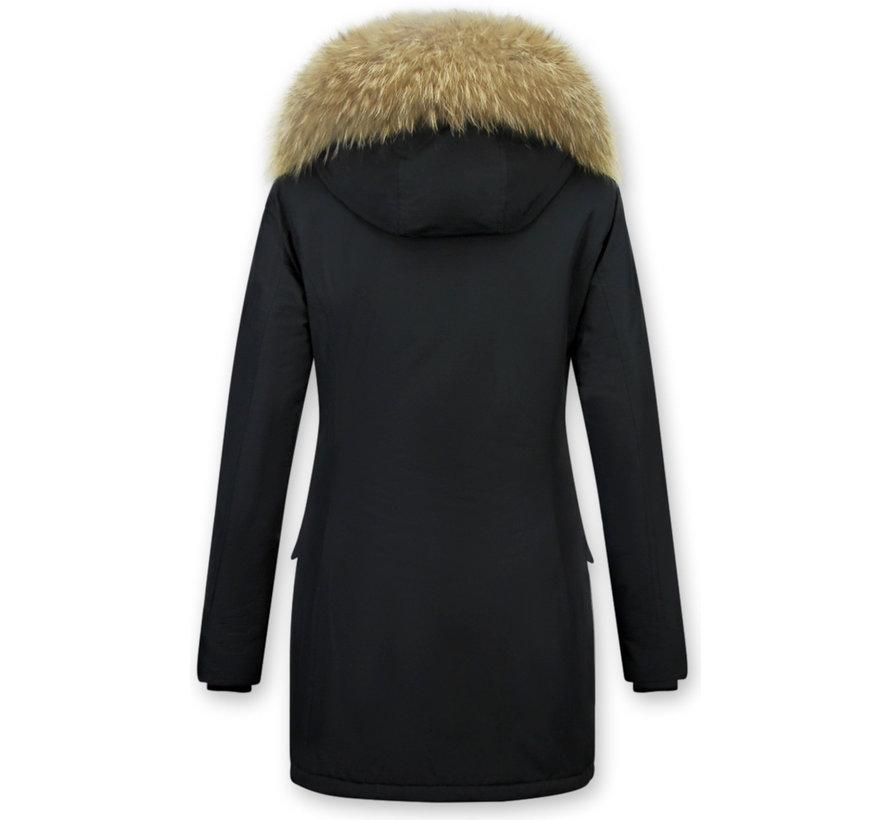 Dames Getailleerde Winterjas Lang - Grote Bontkraag  - Zwart