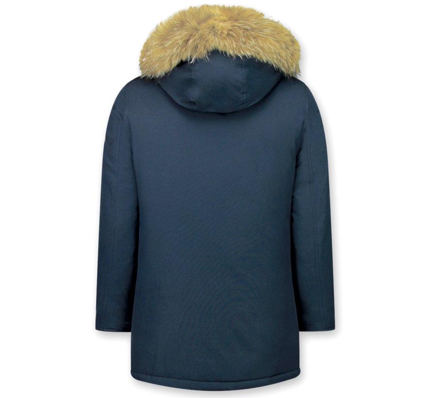 Lange Gewatteerde Heren Winterjas  - met Grote Bontkraag - Blauw