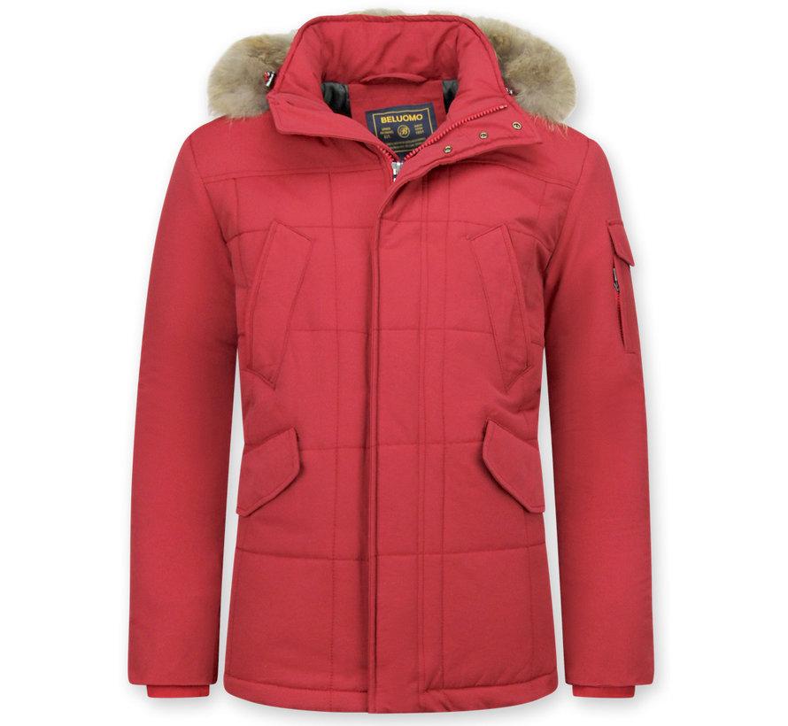 Rode Winterjas Heren Lang  - met Kleine Bontkraag