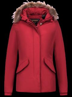 Beluomo Rode Getailleerde Dames Winterjas  - met Kleine Bontkraag