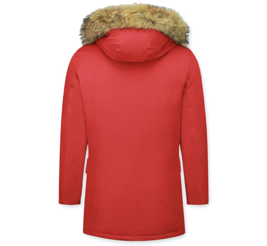 Lange Warme Heren Winterjas  - met Grote Bontkraag - Rood