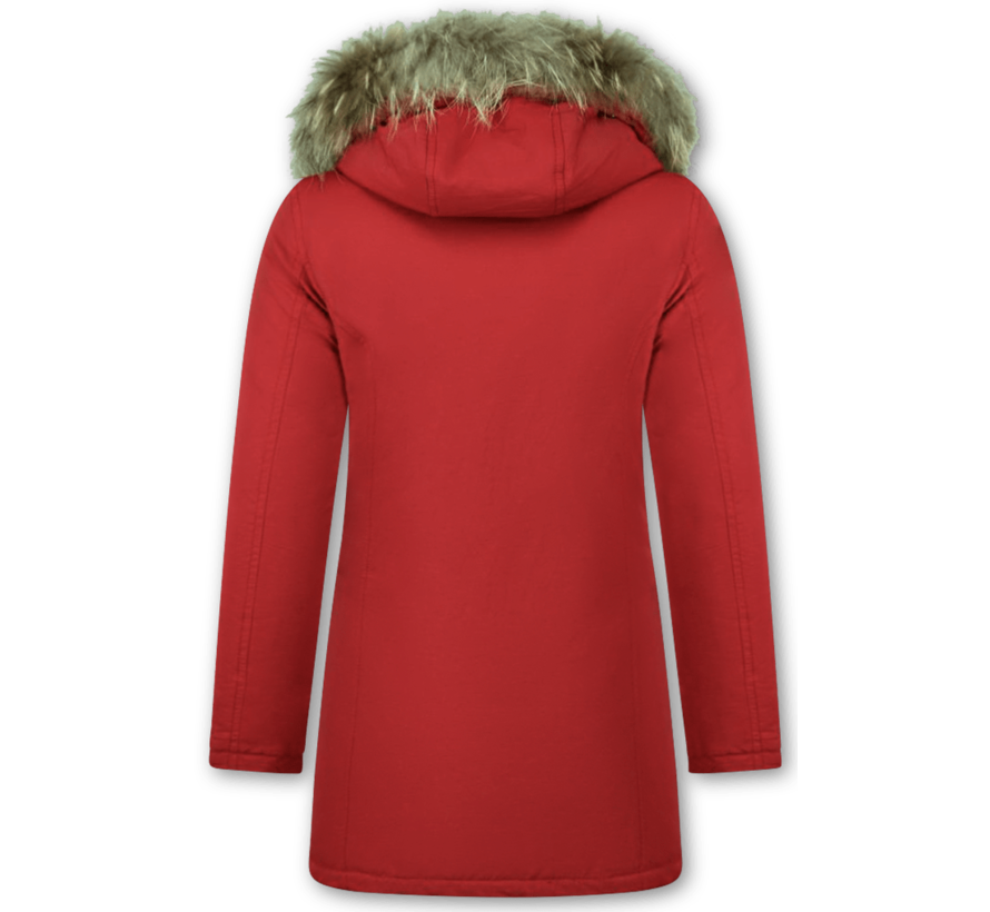 Rode Dames Winterjas Lang - Parka met Bontkraag - Steekzakken