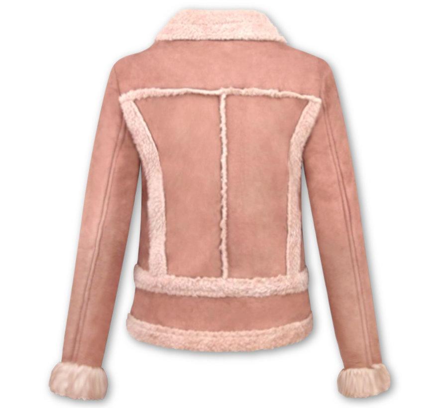 Bikerjack Dames - Suede Jas - Lammy Coat  - Roze