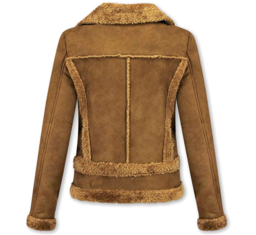 Bikerjack Dames - Lammy Coat  - Suede Jas - Bruin
