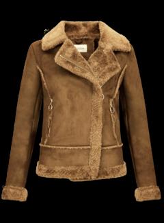 Z-design Bikerjack Dames - Lammy Coat  - Suede Jas - Bruin